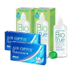 Air Optix plus HydraGlyde (6 lentes) + Liquido BioTrue 300ml