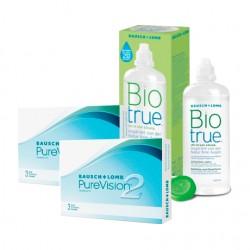 PureVision 2HD (3 lentes) + Liquido BioTrue 300ml