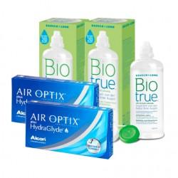 Air Optix plus HydraGlyde (6 lentes) + Liquido BioTrue 300ml