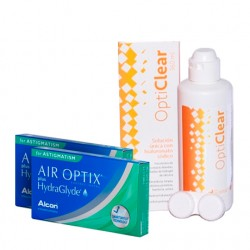 Air Optix Plus HydraGlyde for Astigmatism (3 lentes) + Liquido Opticlear 360ml