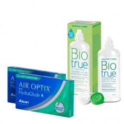 Air Optix Plus HydraGlyde for Astigmatism (3 lentes) + Liquido BioTrue 300ml